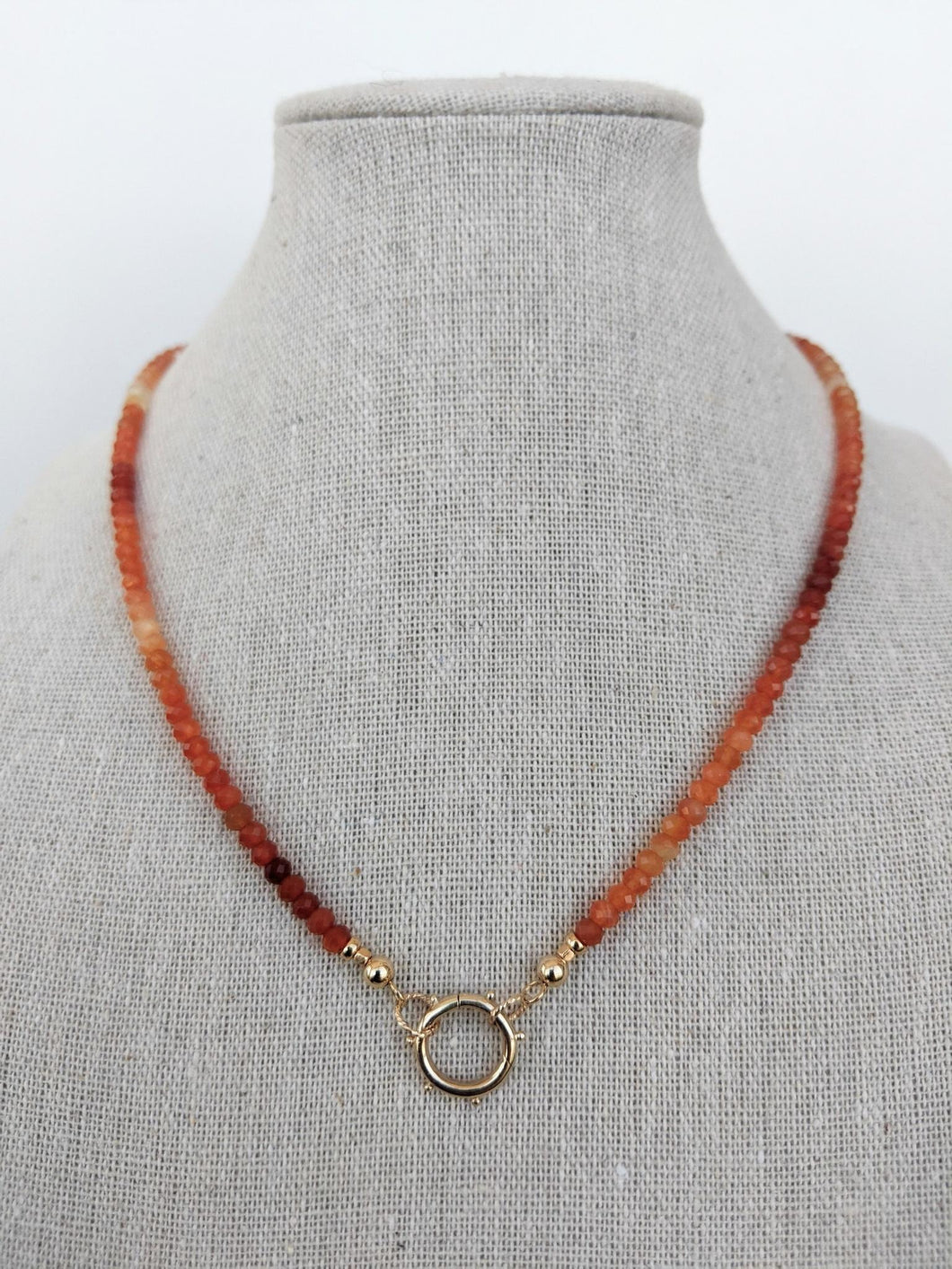 Open Loop Ombré Carnelian Necklace
