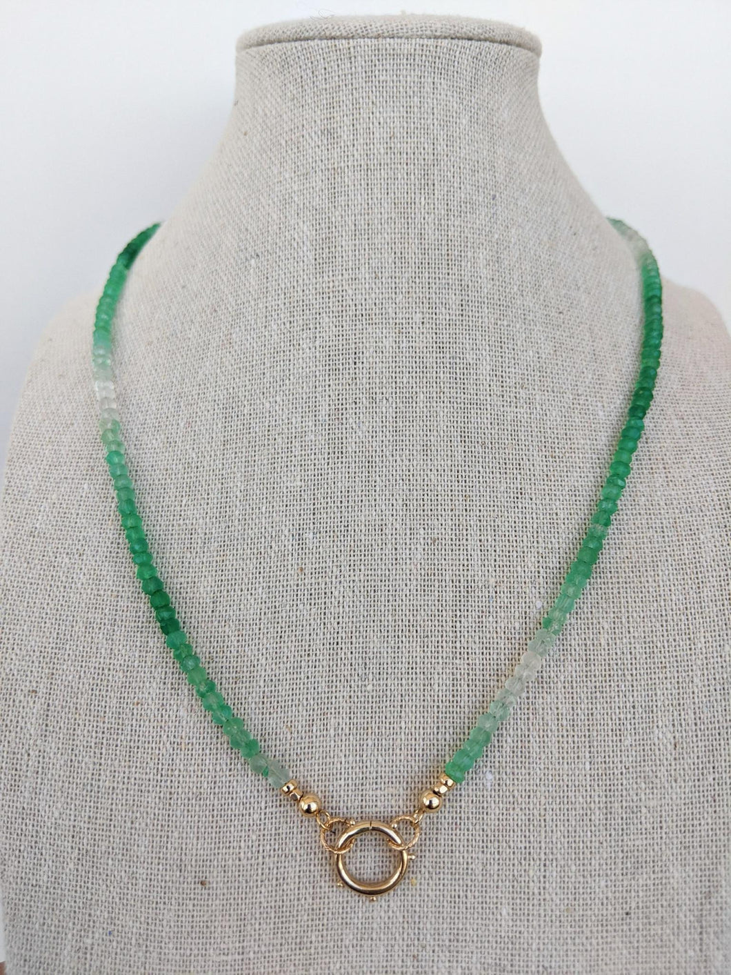 Open Loop Ombré Green Onyx Necklace
