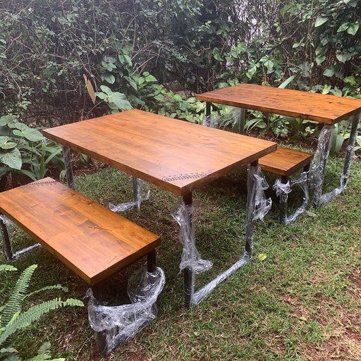Green Furniture Table + Bench-Table And Bench on -Homely.co.ke