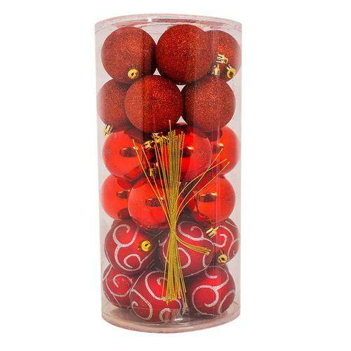Sirocco 6cm Assorted Red Christmas Balls (30pcs)-Christmas Balls on -Homely.co.ke