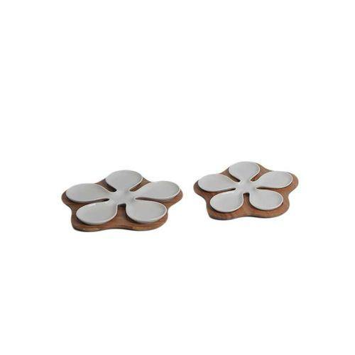 Sirocco Petal - Like Ceramic Décor Plates - 2 Pieces - White-Decor on -Homely.co.ke