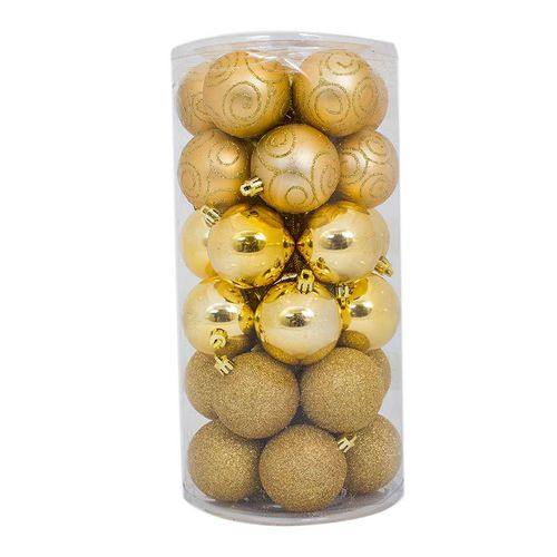 Sirocco 6cm Assorted Gold Christmas Balls (30pcs)-Christmas Balls on -Homely.co.ke