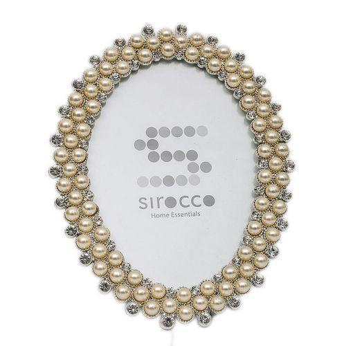 Sirocco Pearls & Diamante Photo Frame - Silver & Crème-Photo Frame on -Homely.co.ke