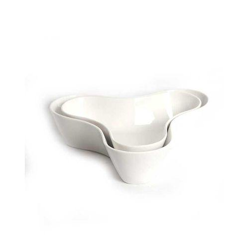 Sirocco Ceramic Décor Plates - 2 pieces - White-Decor on -Homely.co.ke