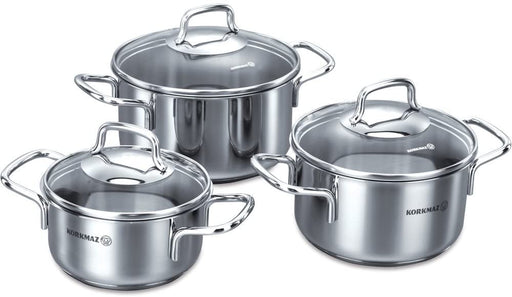Korkmaz Perla Jr. Cookware Set With Glass Lid - 6 Pieces-Cookware on -Homely.co.ke