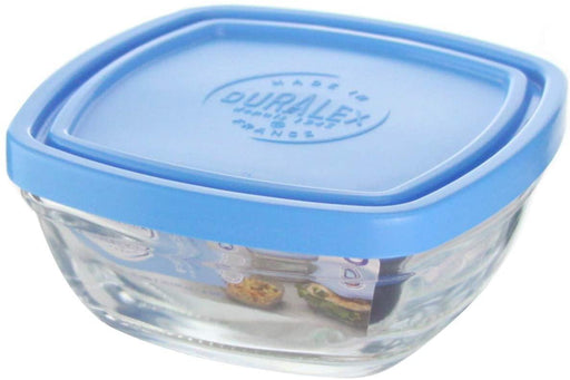 Duralex Freshbox Clear Square Bowl With Blue Lid-Bowls on -Homely.co.ke
