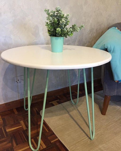 Green Furniture Round Table White With Hairpin Legs-Table on -Homely.co.ke