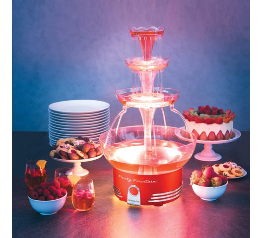 Nostalgia Lighted Party Fountain (RetroRed)-CHOCOLATE FOUNTAINS on -Homely.co.ke