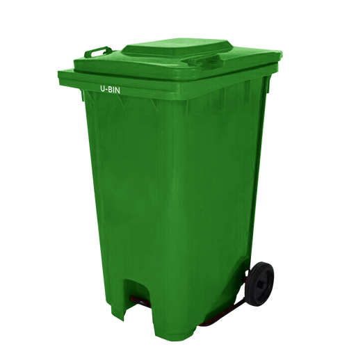 Garbage Pedal Bin With Wheels - Green-Bin on -Homely.co.ke