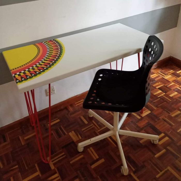Green Furniture Desk With Ankara Print-Work Desk on -Homely.co.ke