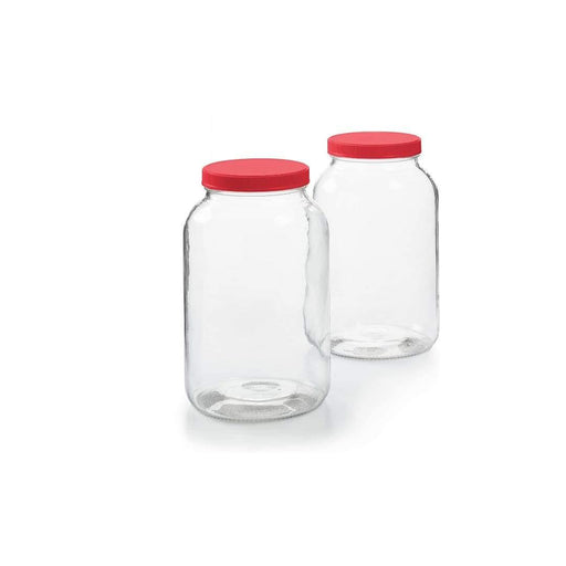 Glass Jar With Red Plastic Cap-Food Storage on -Homely.co.ke