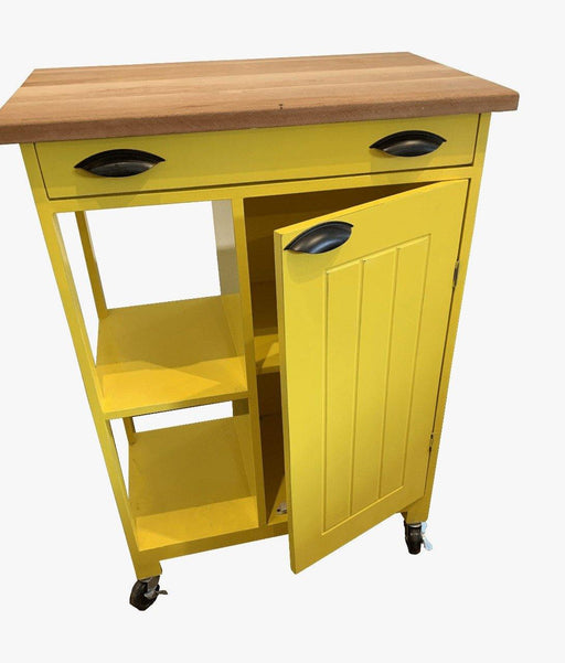 Green Furniture Kitchen Island On Wheels With Butcher Block Top-Kitchen Island on -Homely.co.ke
