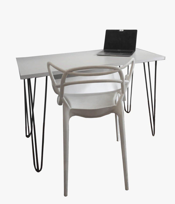 Green Furniture White Study Table Top With Black Pin Legs-Work Desk on -Homely.co.ke