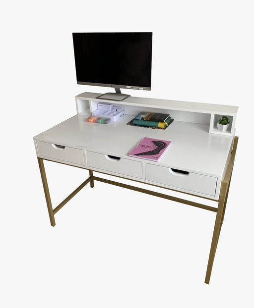 Green Furniture White Dressing Table (Doubles Up As A Desk) With Gold Metal Legs-Work Desk on -Homely.co.ke