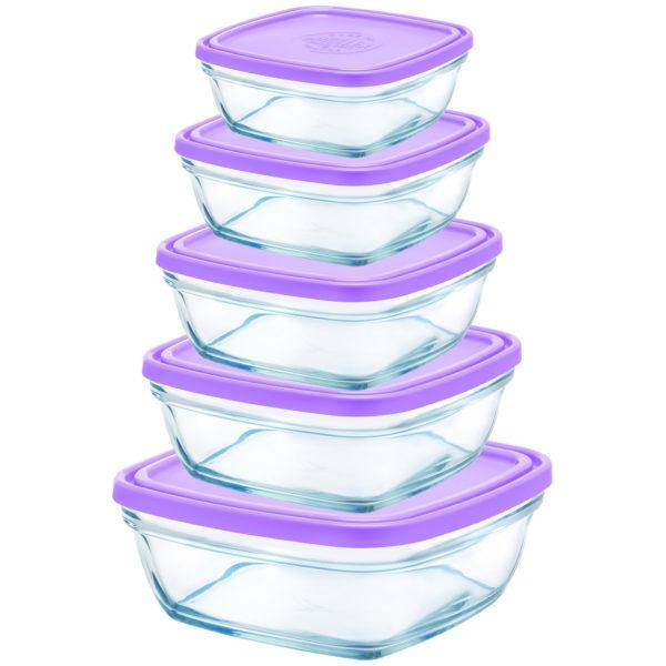 Duralex Freshbox Clear Square Bowl With Purple Lid-Bowls on -Homely.co.ke