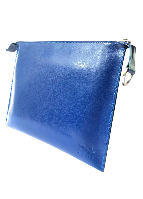 BLUE ELECTRIC LEATHER CLUTCH – VOYAGEUR EL
