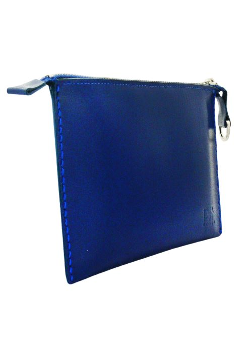 BLUE ELECTRIC LEATHER POUCH – VACANCIER EL