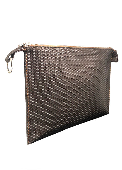 Brown Embossed Leather Clutch–VOYAGEUR EM