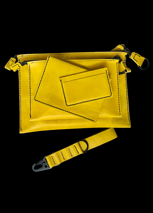 Yellow Leather Clutches Set