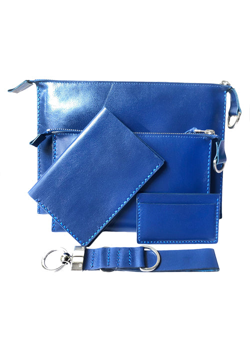 SET EL - Electric Blue Leather Pouches Bag Set