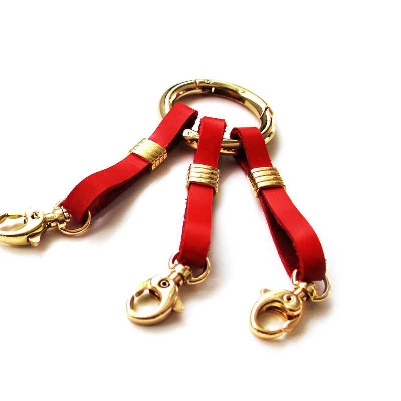 Keyring straps red leather