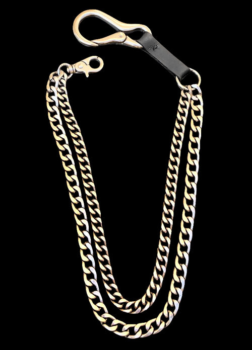 LUXURY CHAIN PANTS DOUBLE SILVER-PLATED CHAINS AND LEATHER