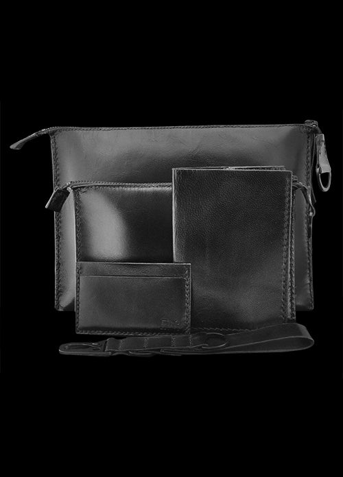 Black Leather Pouches Bag Set