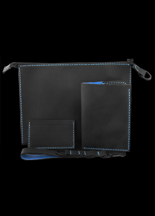Black Leather Travel Set