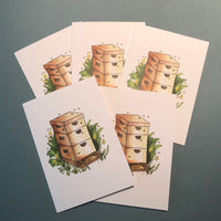 Set of 5 Bee Hive Greeting Cards