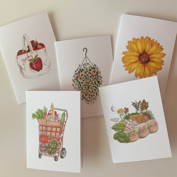 Set of 5 Farmer's Market Greeting Cards