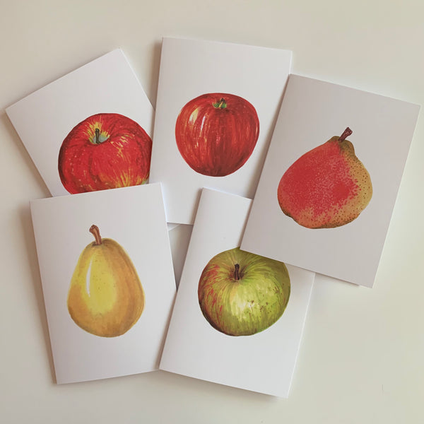 Set of 5 Apples & Pears Greeting Cards