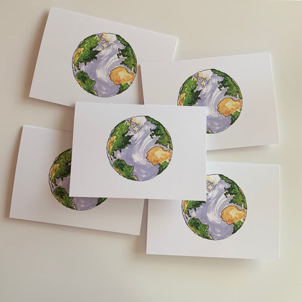 Set of 5 Globe Greeting Cards
