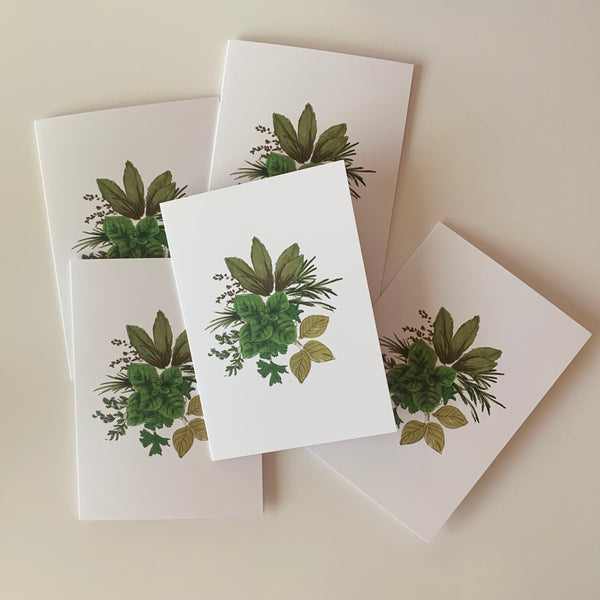 Set of 5 Herb Corsage Greeting Cards