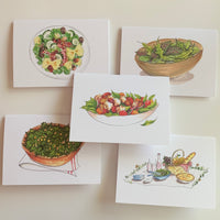 Set of 5 Salads Greeting Cards