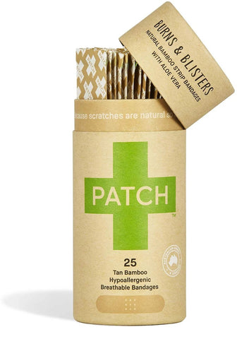 Patch Biodegradable Bamboo Bandages - Aloe Vera for Burns, Blisters, Abrasions