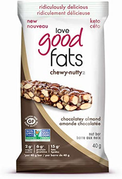 Love Good Fats Keto Bar - Chewy Nutty Chocolatey Almond (Plant-Based)