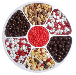 "Valentine Gift Tray - Nut & Chocolate with Cinnamon Hearts Center 12"" - #60007"