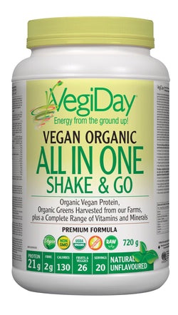 VegiDay Vegan Organic All In One Shake & Go Drink Mix - UNFLAVOURED