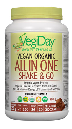 VegiDay Vegan Organic All In One Shake & Go Drink Mix - Decadent Chocolate