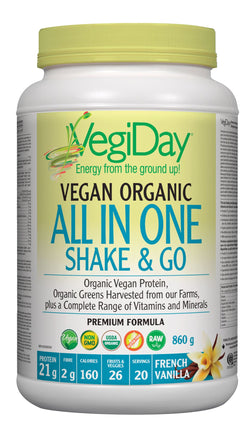 VegiDay Vegan Organic All In One Shake & Go Drink Mix - French Vanilla