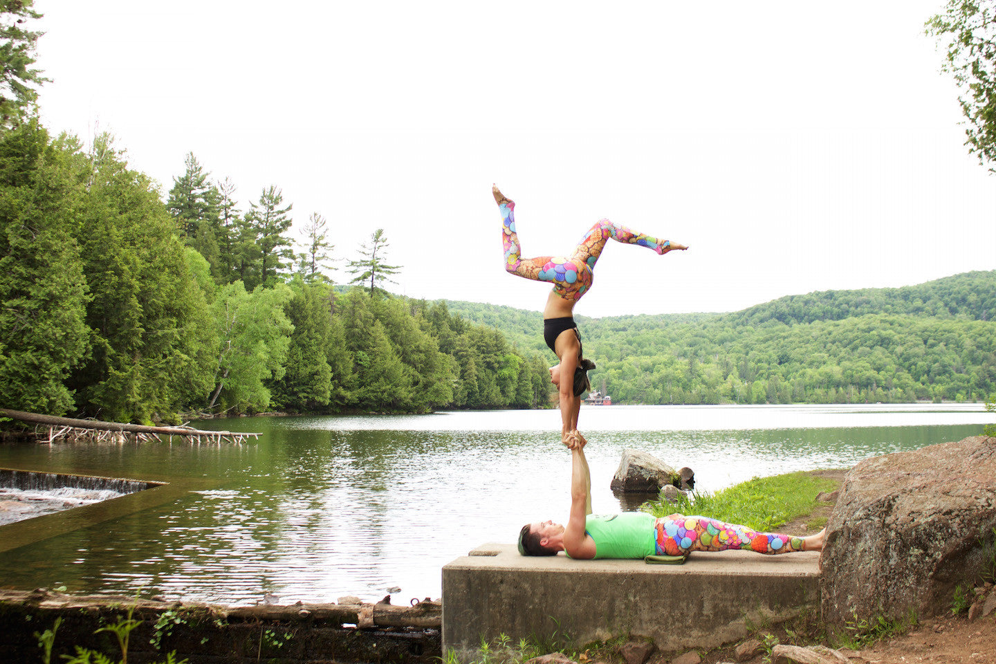 Acroyoga Pose - L-Base Hand to Hand (Gatineau Park, just outside of Ottawa)