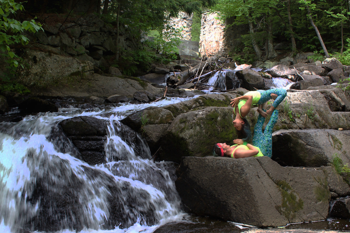 Acro Yoga Pose - Waterfall by a Waterfall (Gatineau Park, just outside of Ottawa)