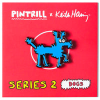 Keith Haring Dogs - Bleue Pin
