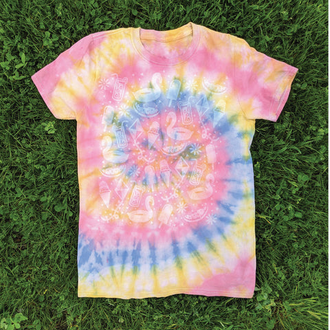 Spiral tie-dye tee with summer fun tee design