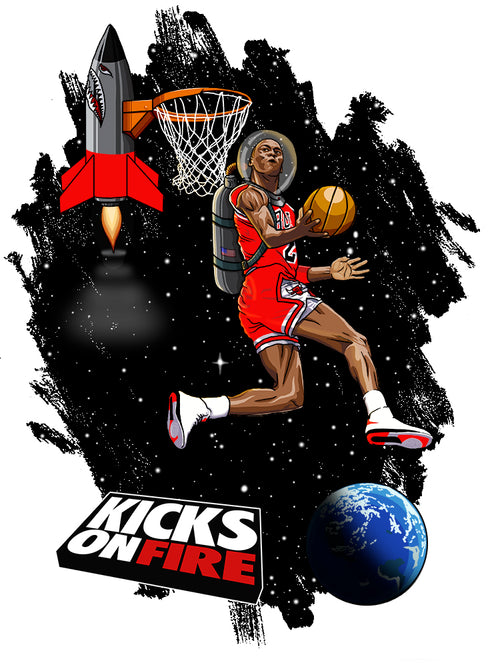 KicksOnFire T-Shirt - Flight in Space Fire Red