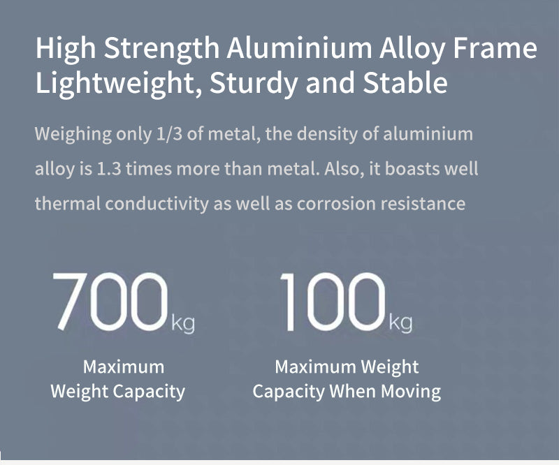 High Strength Aluminium Alloy Frame Lightweight, Sturdy and Stable Weighing only 1/3 of metal, the density of aluminium alloy is 1.3 times more than metal. Also, it boasts well thermal conductivity as well as corrosion resistance