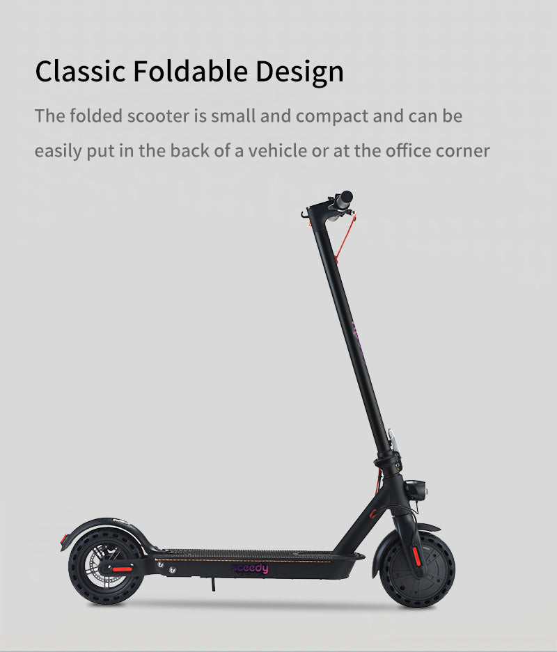Classic Foldable Design The folded scooter is small and compact and can be easily put in the back of a vehicle or at the office corner