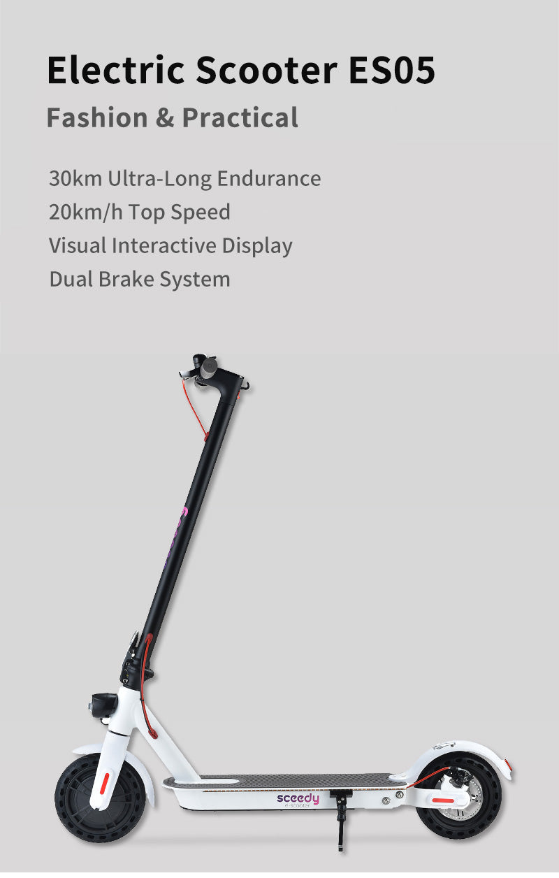 Electric Scooter ES05 Fashion & Practical 30km Ultra-Long Endurance 20km/h Top Speed Visual Interactive Display Dual Brake System