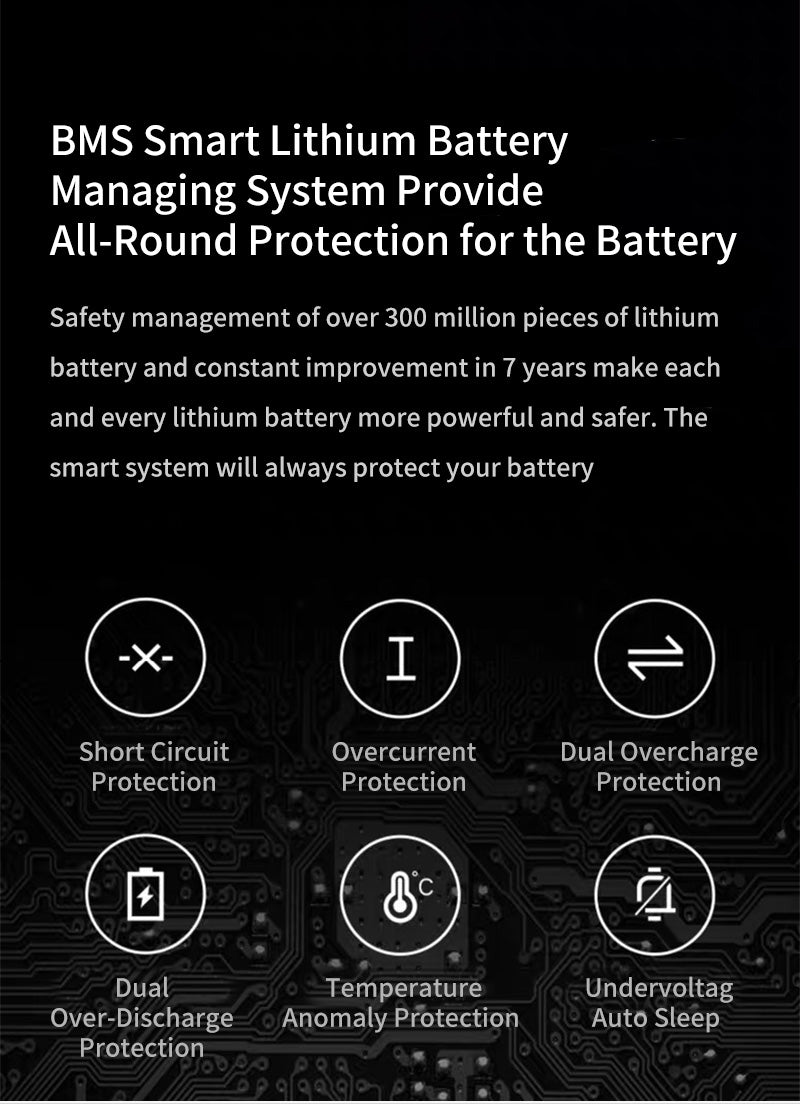 BMS Smart Lithium Battery Managing System Provide All-Round Protection for the Battery Safety management of over 300 million pieces of lithium battery and constant improvement in 7 years make each and every lithium battery more powerful and safer. The smart system will always protect your battery Short Circuit Protection Overcurrent Protection Dual Overcharge Protection Dual Over-Discharge Protection Temperature Anomaly Protection  Undervoltag Auto Sleep