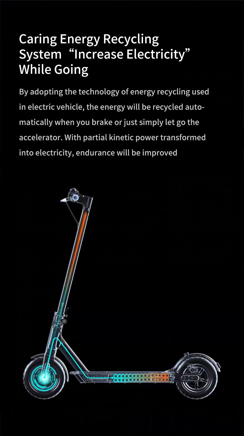 """Caring Energy Recycling System""""Increase Electricity"""" While Going By adopting the technology of energy recycling used in electric vehicle, the energy will be recycled automatically when you brake or just simply let go the accelerator. With partial kinetic power transformed into electricity, endurance will be improved"""
